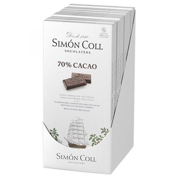 tableta de chocolate negro 70 cacao 85gr simon coll caja de 10 unidades