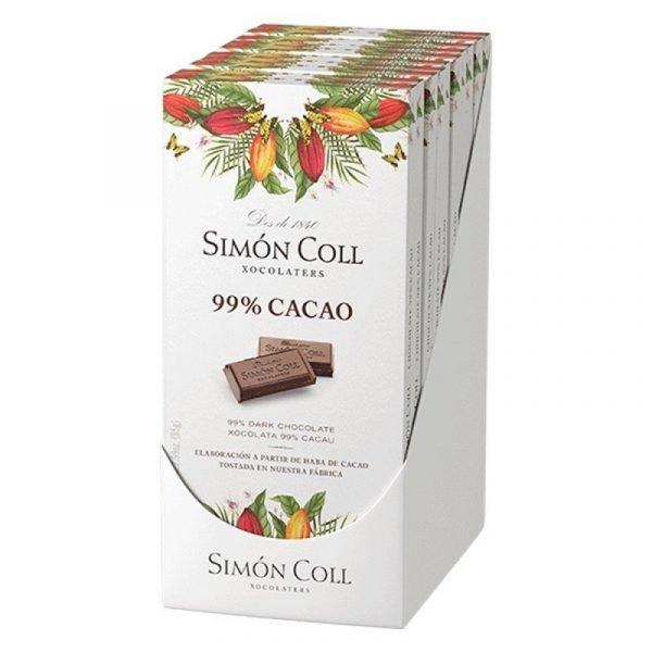 tableta de chocolate negro 99 cacao 85gr simon coll caja de 10 unidades